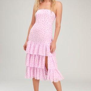 Pink Polka Dot Ruffled Midi Dress